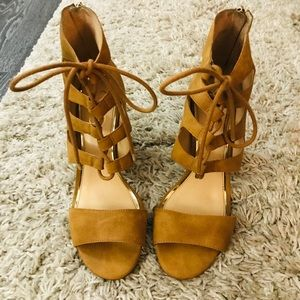 Tan, suede, caged sandals
